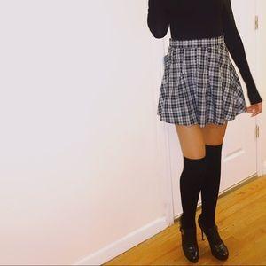 High Waist Plaid Miniskirt